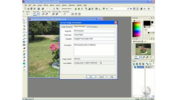 viewing image information: Learning Jasc Paint Shop Power Suite Photo Edition