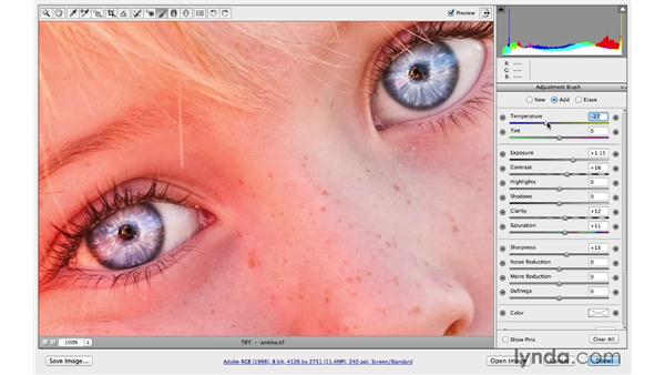 Enhancing the color, tone, and sharpness of the eyes: Photoshop CC for Photographers: Camera Raw 8 Intermediate