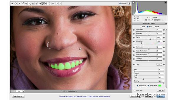 Whitening teeth: Photoshop CC for Photographers: Camera Raw 8 Intermediate