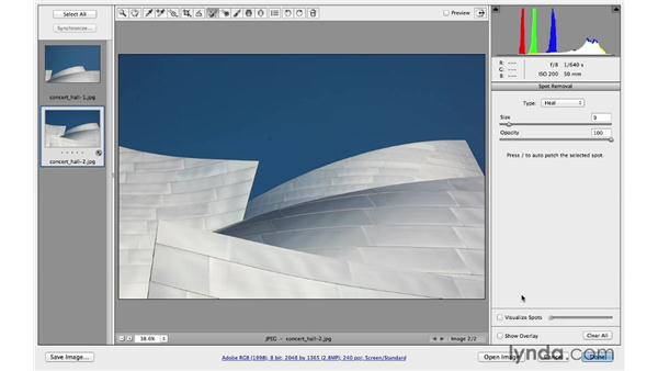 Removing dust spots in the sky on multiple photos: Photoshop CC for Photographers: Camera Raw 8 Intermediate
