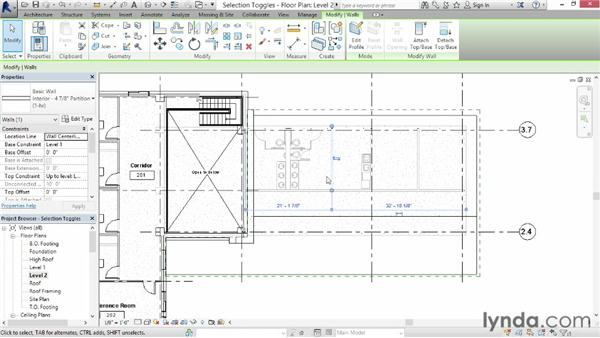 Understanding selection toggles: Revit Architecture 2014 Essential Training