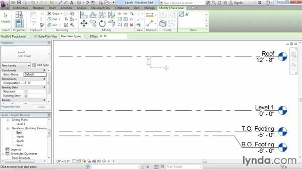 Adding levels: Revit Architecture 2014 Essential Training