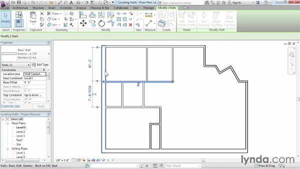 Locating walls: Revit Architecture 2014 Essential Training