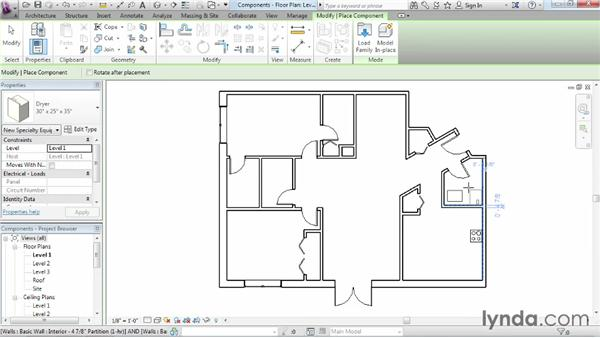 Adding plumbing fixtures and other components: Revit Architecture 2014 Essential Training
