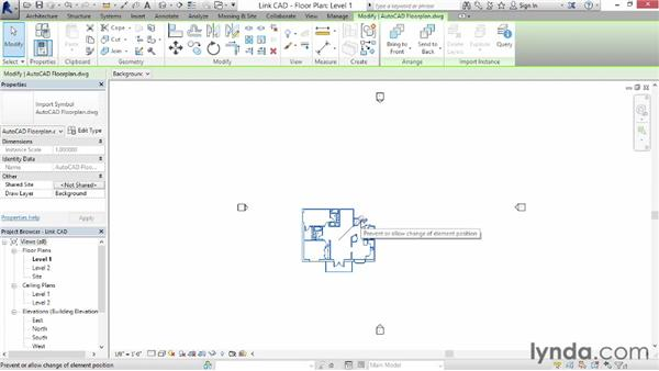 Linking AutoCAD DWG files: Revit Architecture 2014 Essential Training
