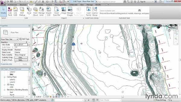 Creating topography from a DWG link: Revit Architecture 2014 Essential Training