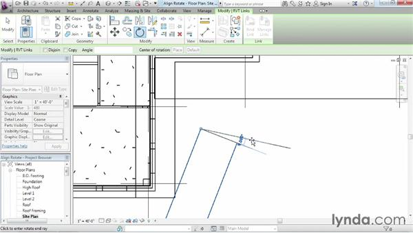 Rotating and aligning a Revit link: Revit Architecture 2014 Essential Training
