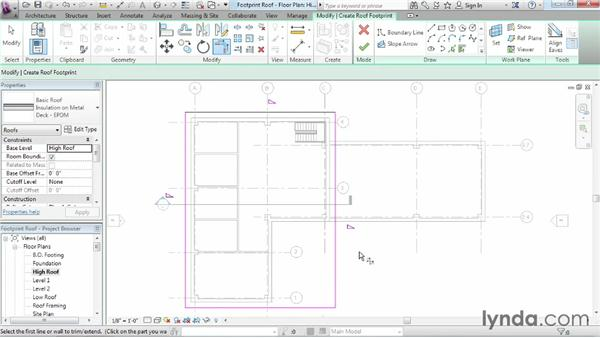 Working with footprint roofs: Revit Architecture 2014 Essential Training