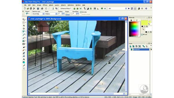 using freehand selection: Learning Jasc Paint Shop Power Suite Photo Edition
