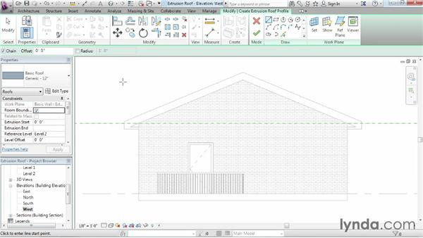 Working with extrusion roofs: Revit Architecture 2014 Essential Training