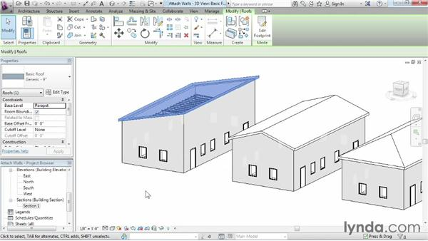 Attaching walls to roofs: Revit Architecture 2014 Essential Training