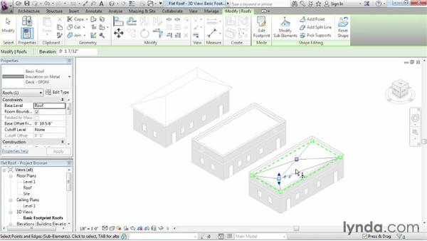 Using the shape editing tools to create a flat roof: Revit Architecture 2014 Essential Training