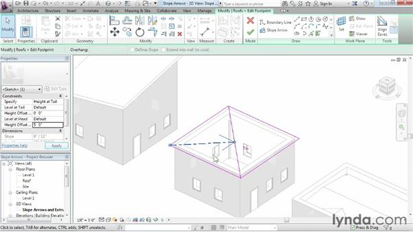 Working with slope arrows: Revit Architecture 2014 Essential Training