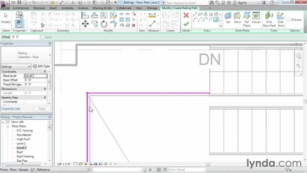 Adding railings to stairs: Revit Architecture 2014 Essential Training