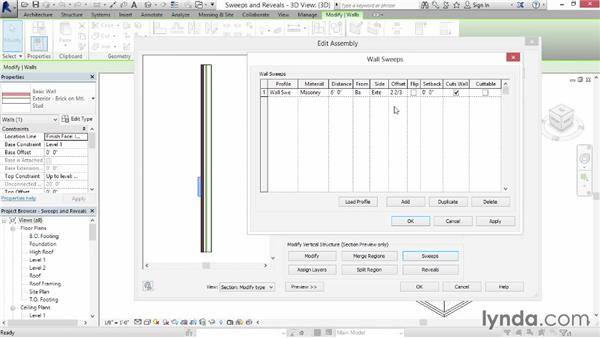 Creating wall sweeps and reveals: Revit Architecture 2014 Essential Training