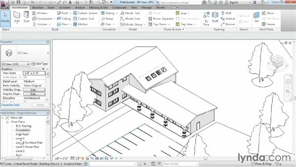 Hiding and isolating objects in a model: Revit Architecture 2014 Essential Training
