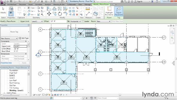 Controlling room numbering: Revit Architecture 2014 Essential Training