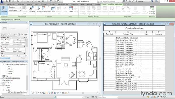 Adding schedule views: Revit Architecture 2014 Essential Training