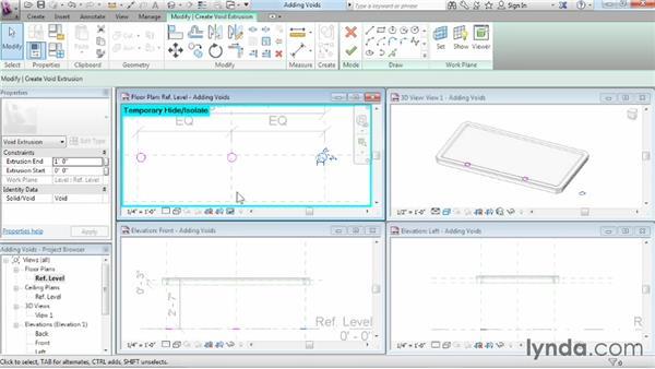 Cutting holes using void geometry: Revit Architecture 2014 Essential Training