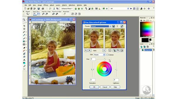 adjusting hue and saturation: Learning Jasc Paint Shop Power Suite Photo Edition