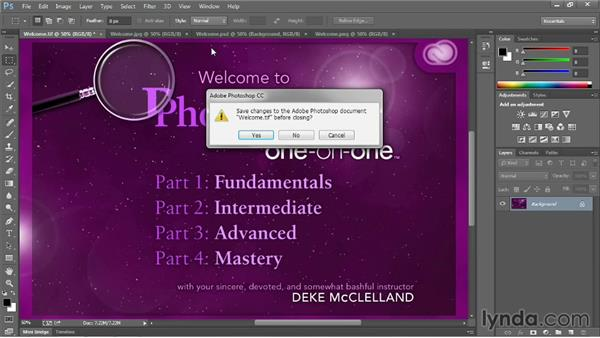 Closing one image and closing all: Photoshop CC 2013 One-on-One: Fundamentals