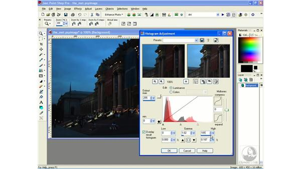 using the histogram: Learning Jasc Paint Shop Power Suite Photo Edition