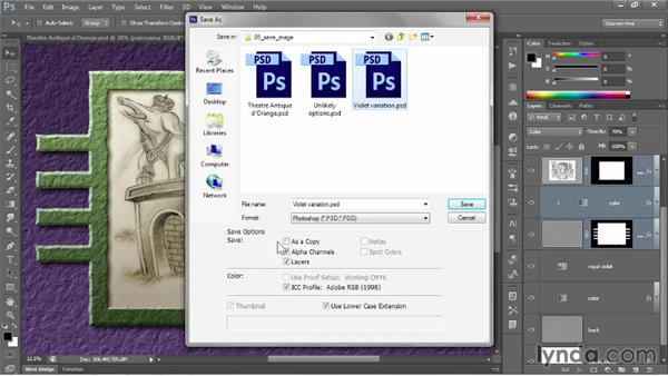 Saving layers to PSD: Photoshop CC 2013 One-on-One: Fundamentals