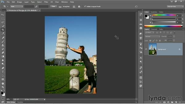 Straightening a crooked image: Photoshop CC 2013 One-on-One: Fundamentals