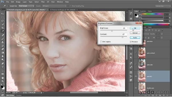 Automatic brightness and contrast: Photoshop CC 2013 One-on-One: Fundamentals