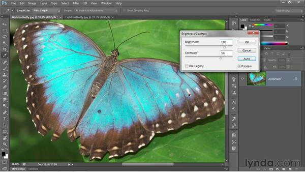 The Brightness/Contrast command: Photoshop CC 2013 One-on-One: Fundamentals
