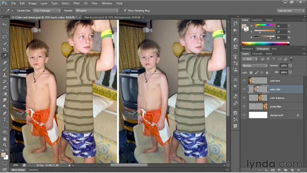 Correcting a color cast automatically: Photoshop CC 2013 One-on-One: Fundamentals