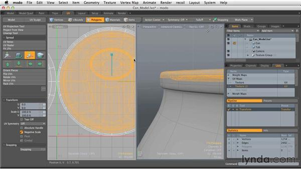 Creating new UV maps: Light and Texture for Product Visualization in MODO