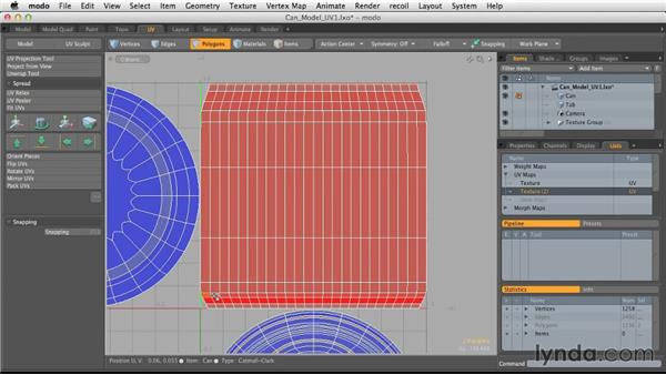 Editing existing UV maps: Light and Texture for Product Visualization in MODO