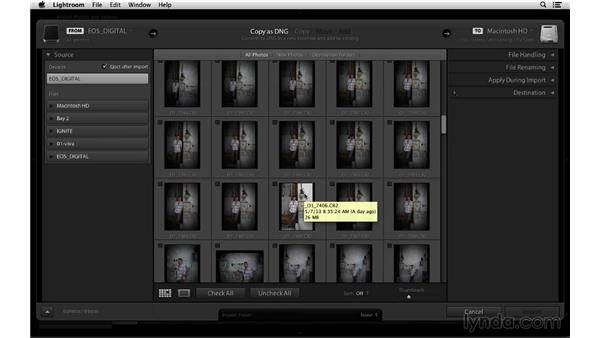 Selecting photos to import from a CF card: Lightroom 5 Essentials: 01 Importing with the Library Module