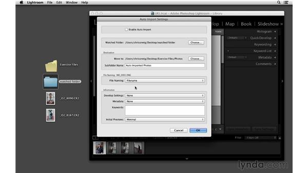 Auto-importing from a watched folder: Lightroom 5 Essentials: 01 Importing with the Library Module