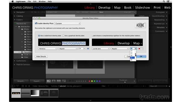 Creating a custom identity plate: Lightroom 5 Essentials: 01 Importing with the Library Module