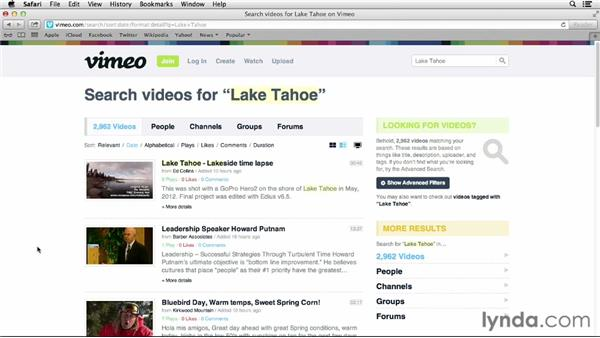 Searching for videos: Vimeo Essential Training