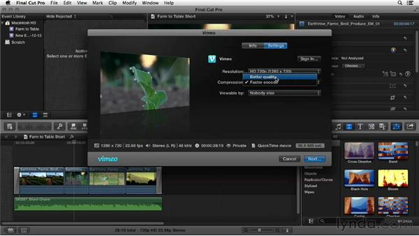 Uploading from Final Cut Pro: Vimeo Essential Training