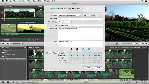 Uploading from iMovie: Vimeo Essential Training