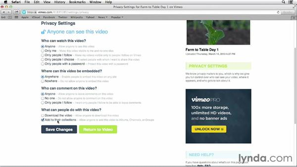 Changing video settings and privacy options: Vimeo Essential Training