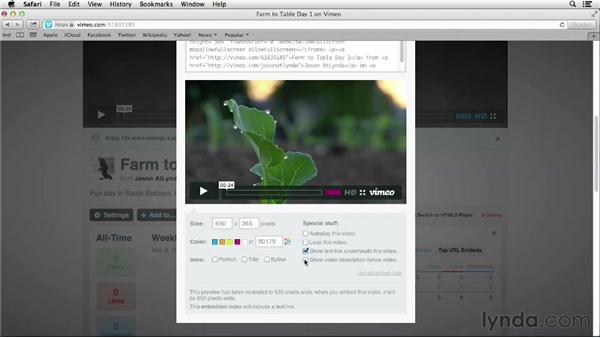 Embedding Vimeo videos onto a web page: Vimeo Essential Training