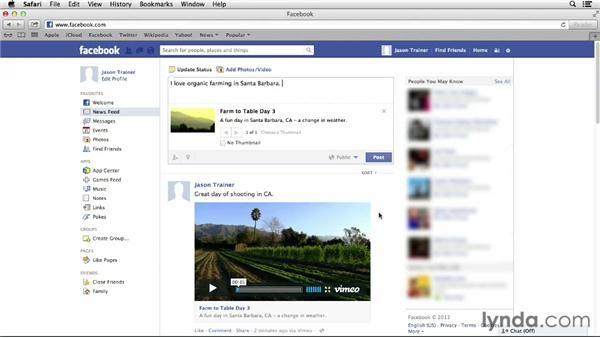 Using Vimeo with social networks: Vimeo Essential Training