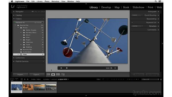 Playing video in Lightroom: Lightroom 5 Essentials: 02 Managing Images with the Library Module