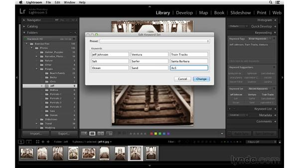 Creating and using keyword sets: Lightroom 5 Essentials: 02 Managing Images with the Library Module