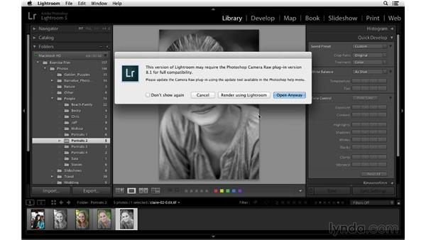 Editing a modified TIFF, PSD, or JPEG file in Photoshop: Lightroom 5 Essentials: 02 Managing Images with the Library Module