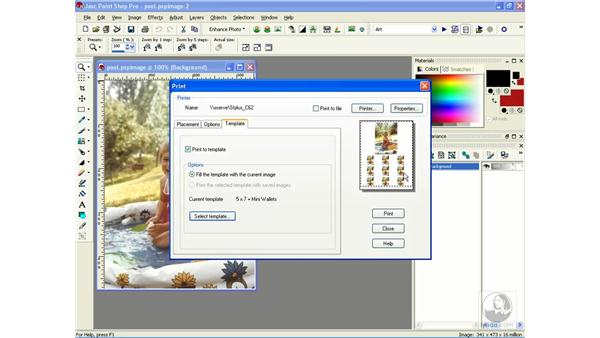 printing with a template: Learning Jasc Paint Shop Power Suite Photo Edition