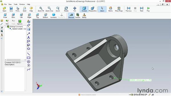 Adding measure annotations: Up and Running with eDrawings