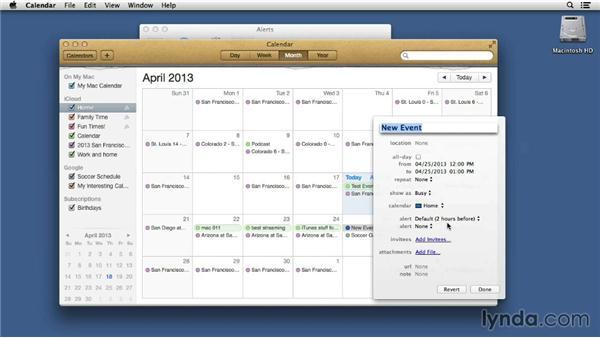 Configuring calendar alerts: Mac OS X 10.8 Mountain Lion Tips and Tricks