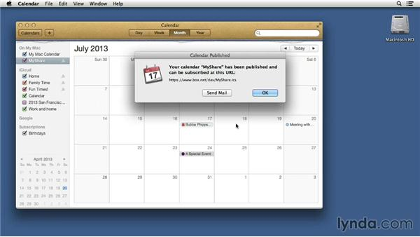 Publishing and subscribing to calendars: Mac OS X 10.8 Mountain Lion Tips and Tricks