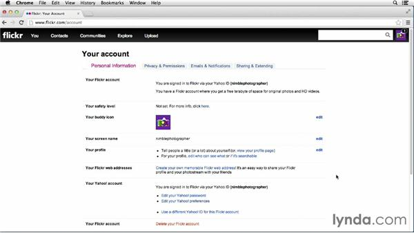 Editing your personal information: Flickr Essential Training